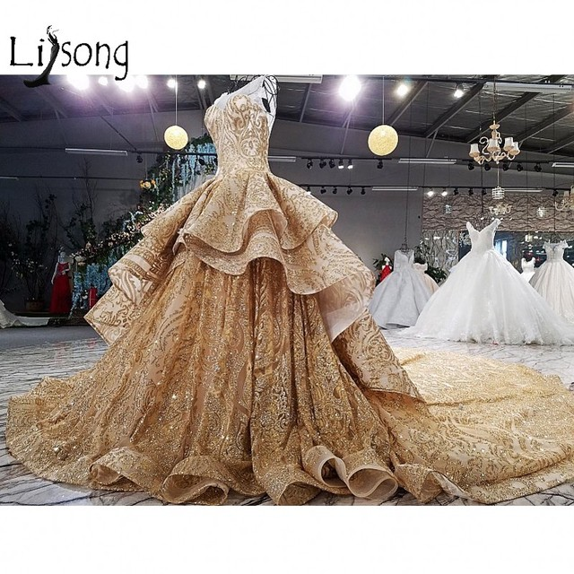 Golden Time Dubai Wedding Dresses Shiny Crystal Lace Puffy Empire ...