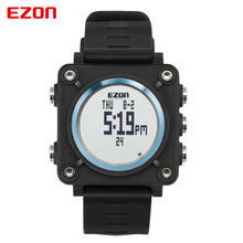 EZON Sports Watch Alarm Compass Outdoor Military Watches Square Silicone Wristwatches Electronic Digital Watch 5ATM Waterproof