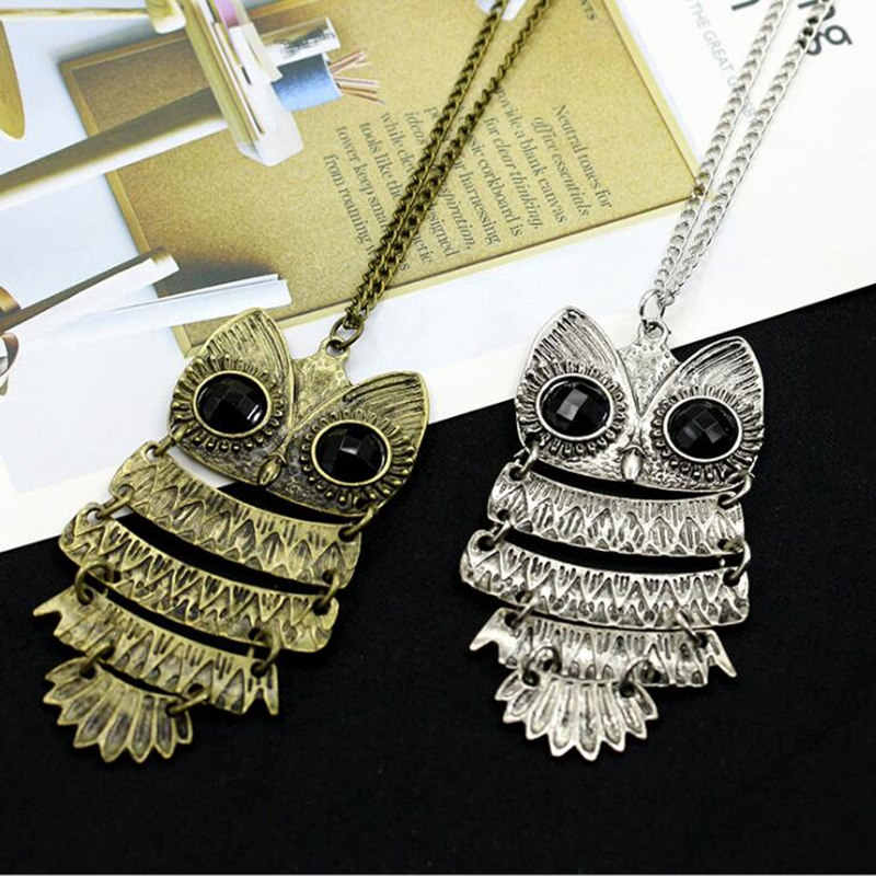 Retro Jewelry Vintage Ancient Bronze Big Eyes Owl Kitty Cat Pendant Statement Long Chain Choker Women Necklace Jewelry 4ND80