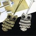Ретро ювелирные изделия Винтаж древний бронзовый большие глаза совы Kitty Cat подвеска массивная длинная цепь колье для женщин, ожерелье Jewelry 4ND80 - фото