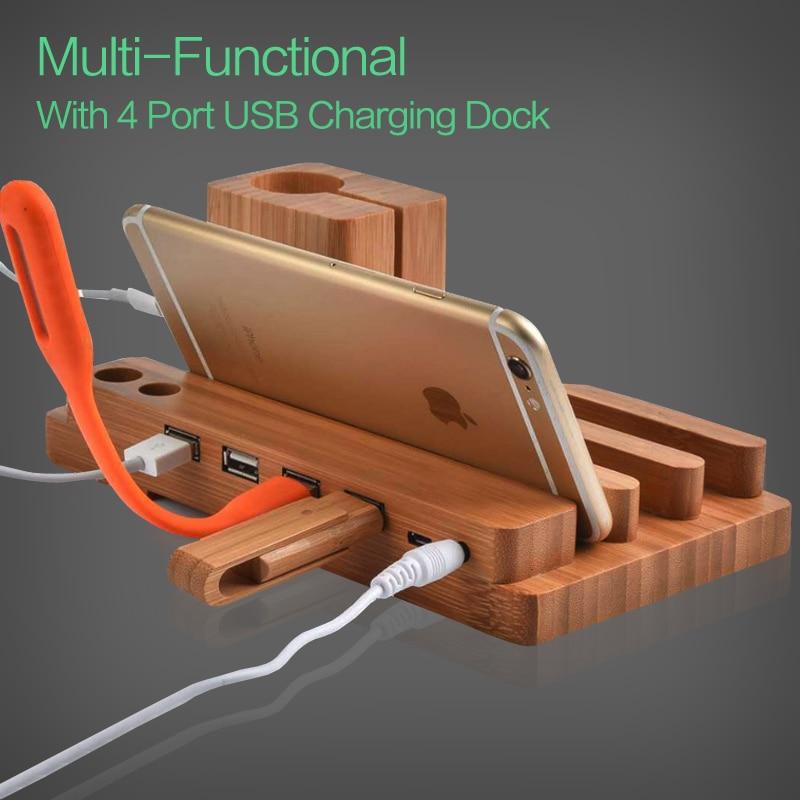 imágenes para Para Apple Reloj de Bambú Genuino Carga Estación de Acoplamiento Cargador de Pie soporte Para iPhone 7 6 Oneplus 5 Multi-función de 4 Puertos USB