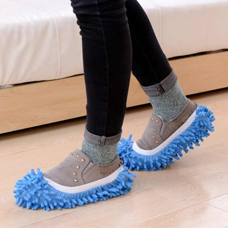 Urijk 1Pc Lazy People Flip Flops Cover Clean Floor Removable Single Chenille Washable Slippers Kitchen Household Cleaning