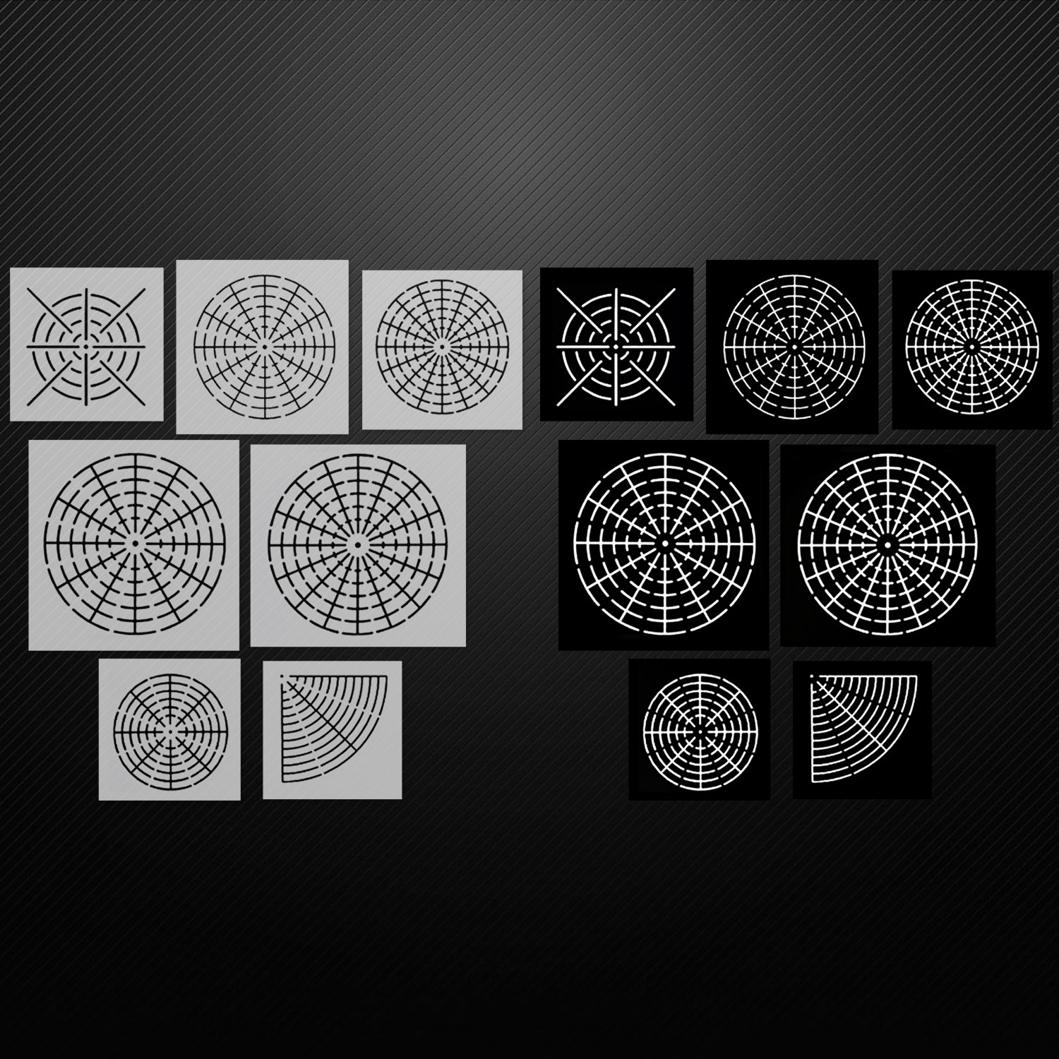 7PCS Assorted Style Mandala Dotting Painting Stencils Templates Tools With Black Cardboards For Wood Rocks Fabrics Wall Art