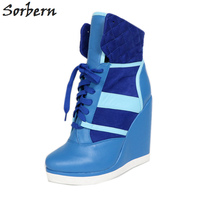 Sorbern Blue Women High Heel Sneaker Wedges Lace Up Ankle Boots Custom Colors Round Toes Sneakers Hidden Wedge Boots 2019