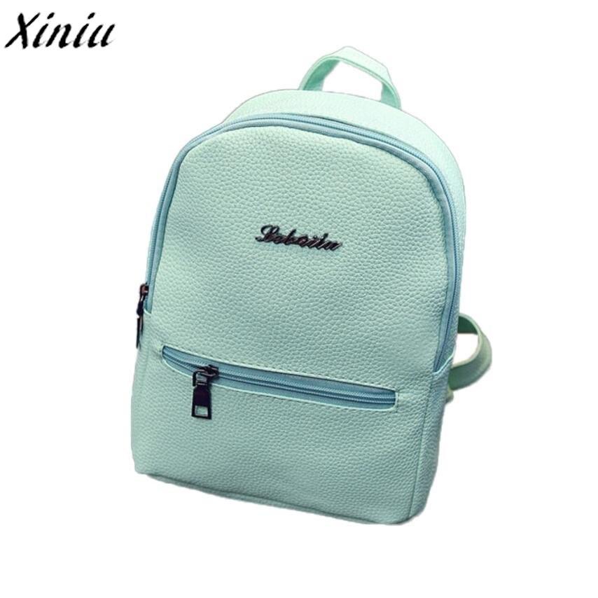 Girls Schoolbag Candy Colors Leather Travel Rugzak Backpack Women Satchel Shoulder Rucksack Bag Mochila Feminina #7503