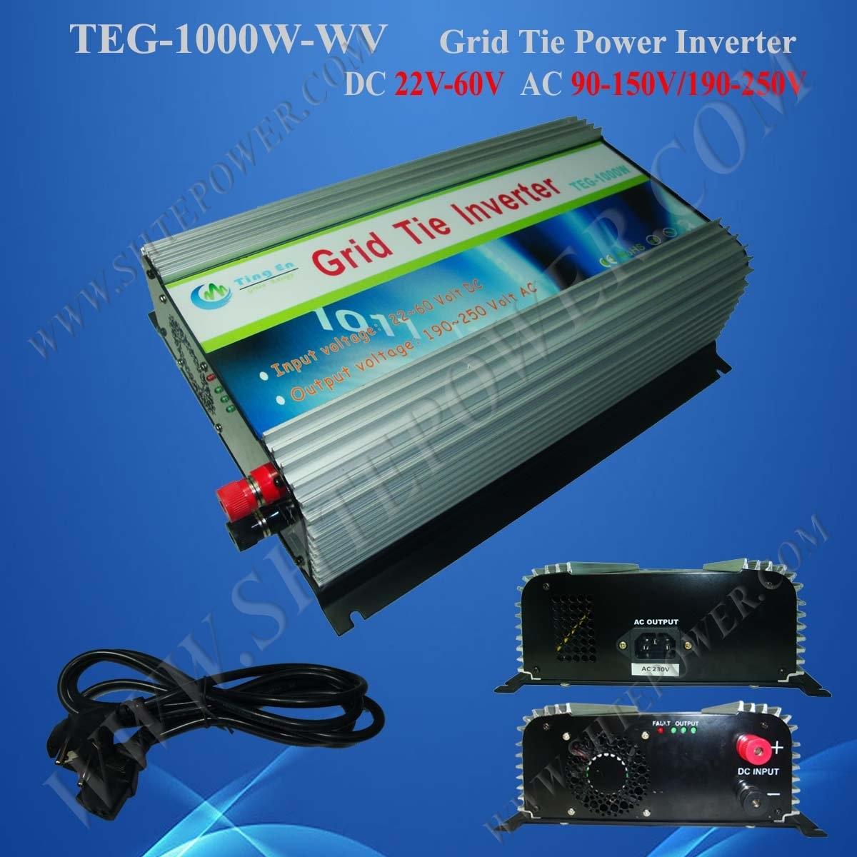 1000W 22V-60VDC to 100V/110V/120V/220V/230V/240VAC On Grid Solar Inverter 1000w micro grid tie inverter mppt solar power dc 22v 60v to ac 90v 130v for 100v 110v 120v