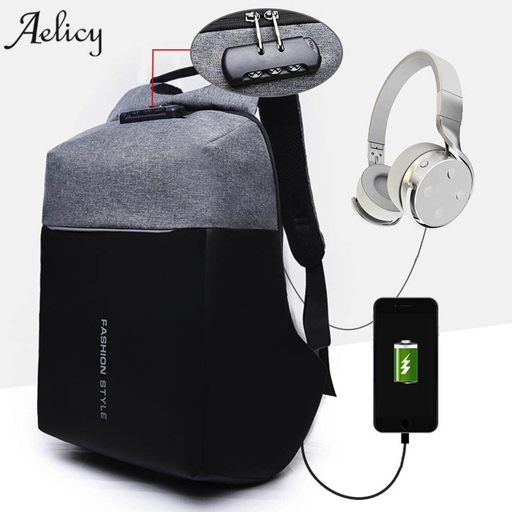 Aelicy Luxus diebstahl USB Lade Rucksäcke Männer Frauen multifunktionale Computer Tasche Passwortsperre Hohe kapazität Laptop Tasche