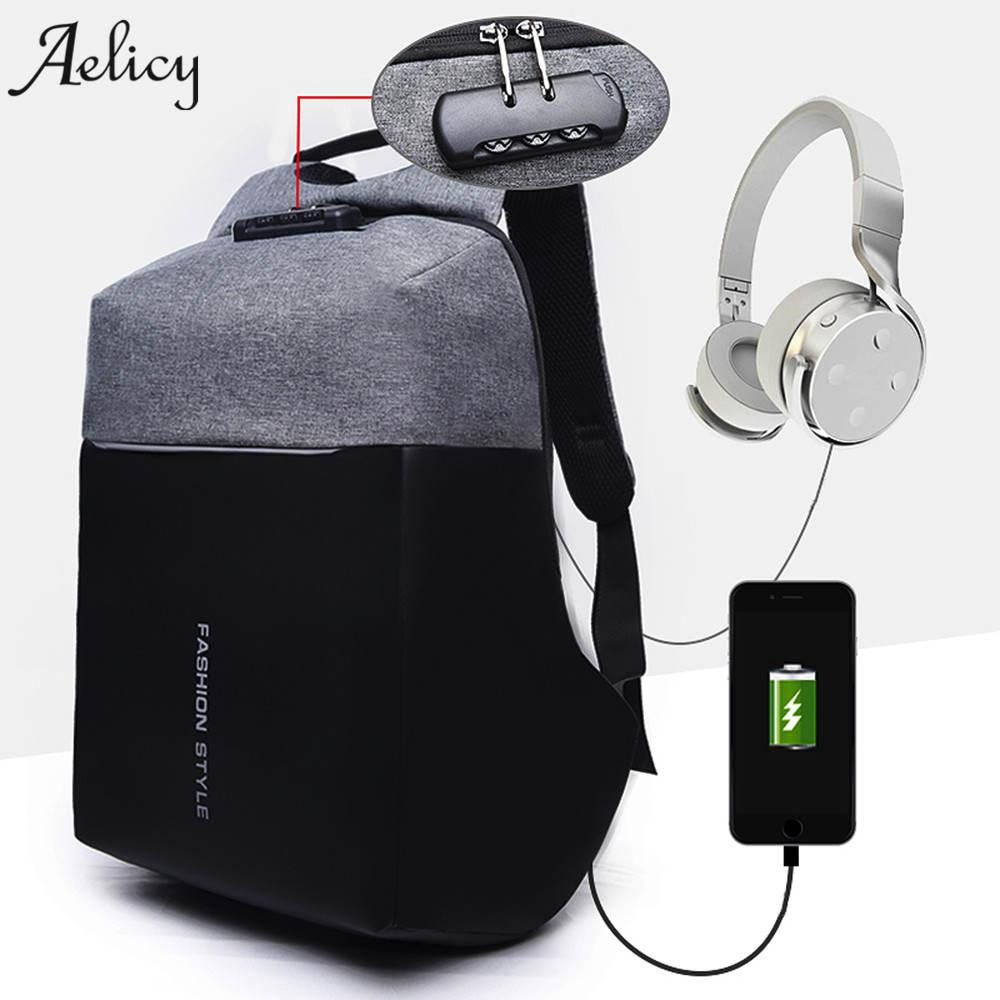 Aelicy lujo USB antirrobo carga mochilas hombres mujeres ordenador multifuncional bloqueo bolsa Contraseña de alta capacidad bolsa de ordenador portátil