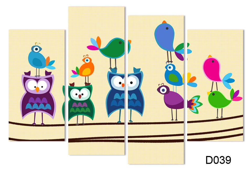 4 panel canvas art cuadros Colorful Owl Canvas painting Oil Painting ...