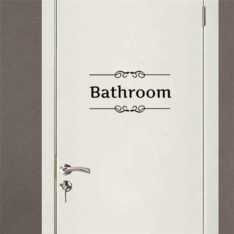 toilet door sign vinyl black quotes wall decals for bathroom hotel