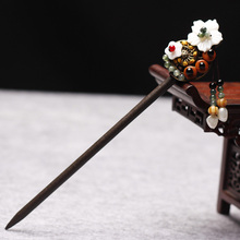 Ancient Costume Hair Sticks Vintage Hair Jewelry Step shake Traditional Chinese Clothing Hair Accessories Wooden Head Ornament