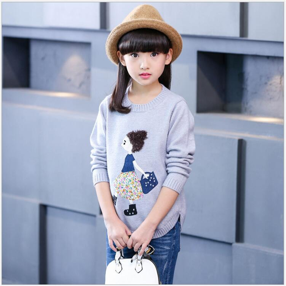 Autumn Winter girls sweaters children clothing kids clothes cute applique o-neck sweaters pullovers baby girls clothes age 4-12Y