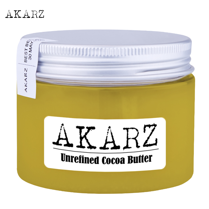 AKARZ brand Unrefined Cocoa butter high-quality origin Ivory Coast Yellow solid Skin face care Cosmetic raw materials base oil image