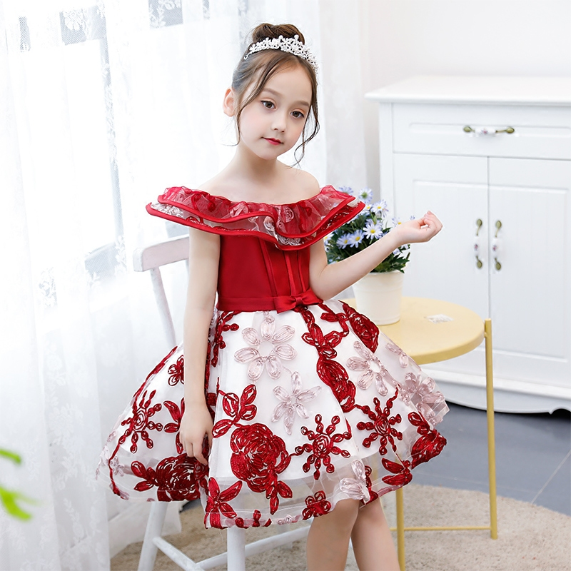 Cute Girls Shoulderless Wedding Dress Emboridery Party Ball Gowns Princess Birthday Dress First Communion Gown for Girl S193 : 91lifestyle