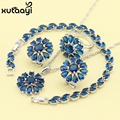 Blue Created Sapphire New Fashion Silver Color Jewelry Sets Sublime Wedding Necklace Rings Earrings Bracelet  For Women