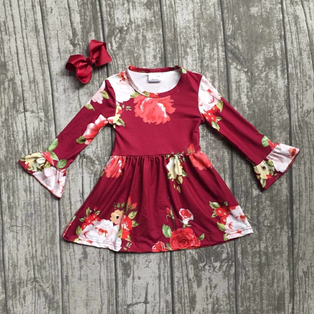 fall/winter baby girls milk silk soft cotton dress burgundy floral flower ruffle longsleeve children clothes boutique match bow football clothes tutus touch downs fall baby girls boutique skirt ruffle hot pink long sleeves bow heart with matching accessory