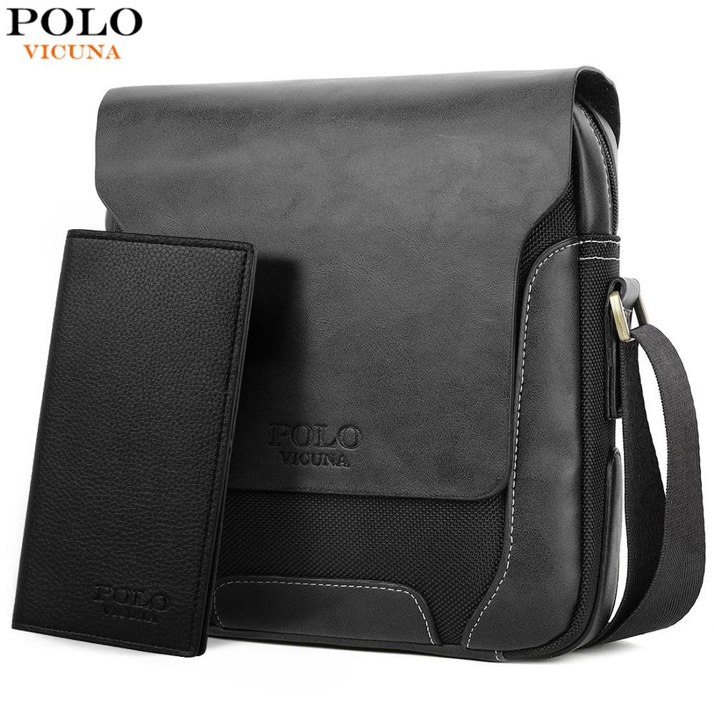 VICUNA POLO Brand Soft Leather Man Daily Messenger Bag With Wallet Bag Set Vintage Large Capacity Male Crossbody Bags sac a main