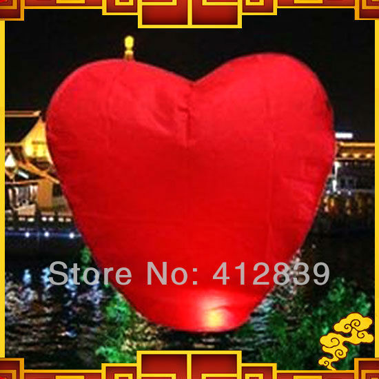 Free shipping,2pcs/lot Red Heart Sharped Chinese sky wishing Lanterns,Flying Light,Factory Direct Sale