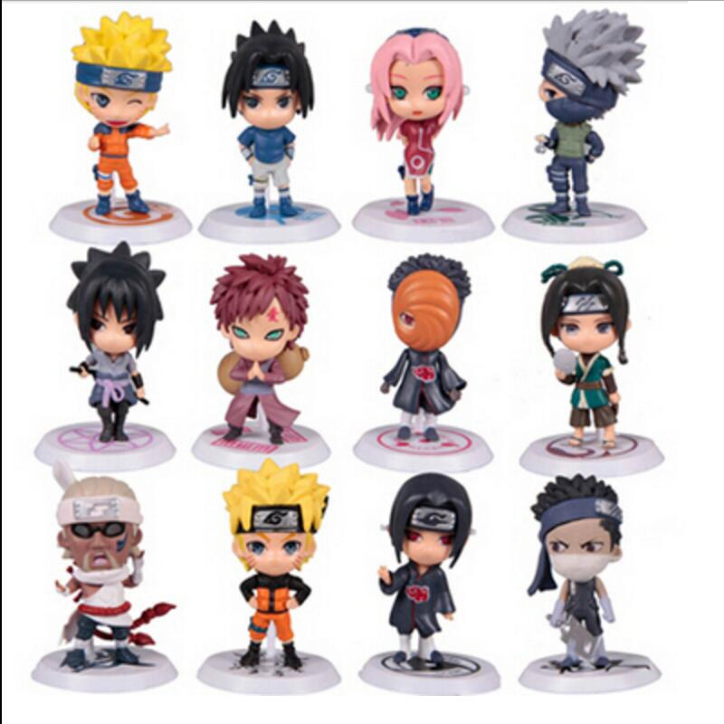 12 Pcs/set Naruto Action Figure Q Edition Sasuke Figurine Anime 7cm PVC Model Doll Collection Children Baby Kids Toys original box anime naruto action figures lightning blade hatake kakashi figure pvc model 12cm collection children baby kids toys