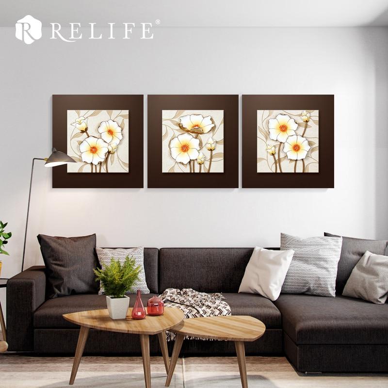 Современные подсолнечника Триптих настенные росписи Nordic декоративно прикладного искусства фотографии для спальни