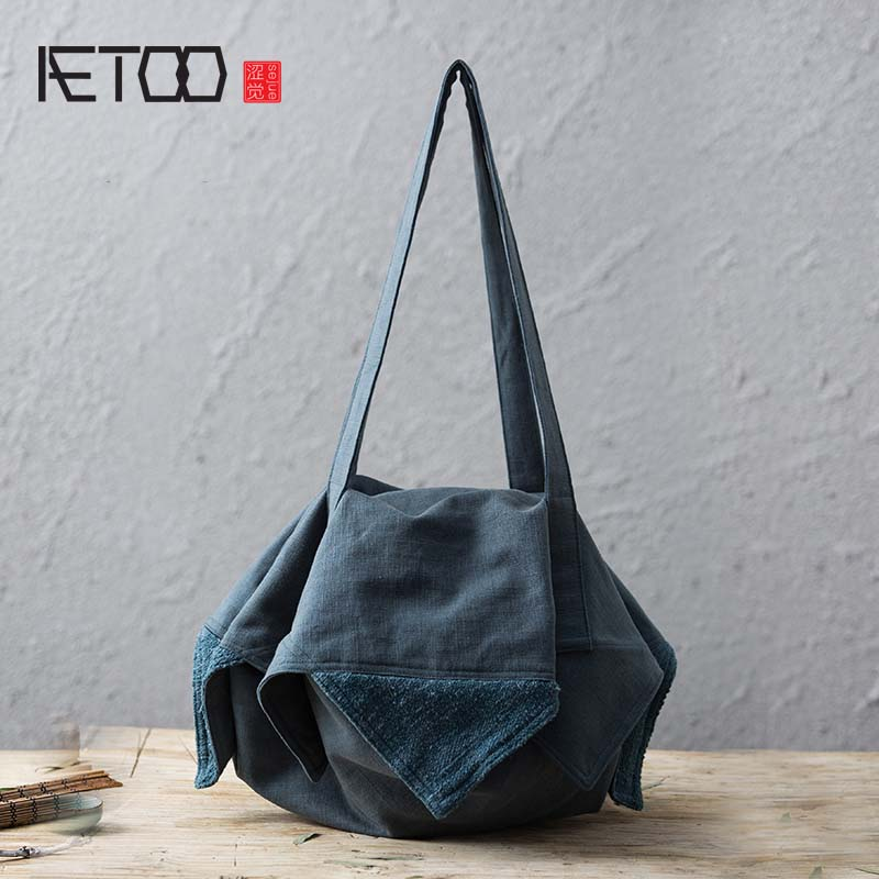 AETOO Cotton linen package spring and summer new style female handbags with irregular  fashion large capacity cloth leisure bags new elastic cotton and linen male