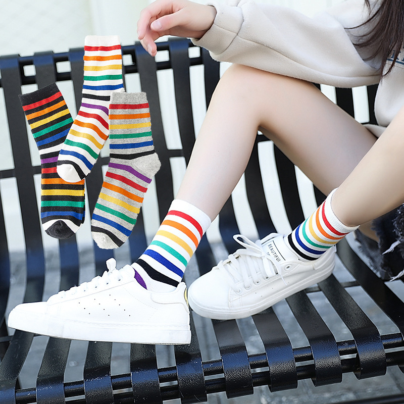 Ulzzing New Rainbow Striped Patterned Funny Short Socks Women Cool Cotton Harajuku Socks Female Fashion Colored Happy Sock