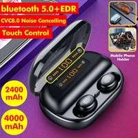 Wireless Earphones 5.0 bluetooth 8D Stereo Earphone IPX7 Waterproof Earphones 4000mAh Battery LED Display Smart Power Bank