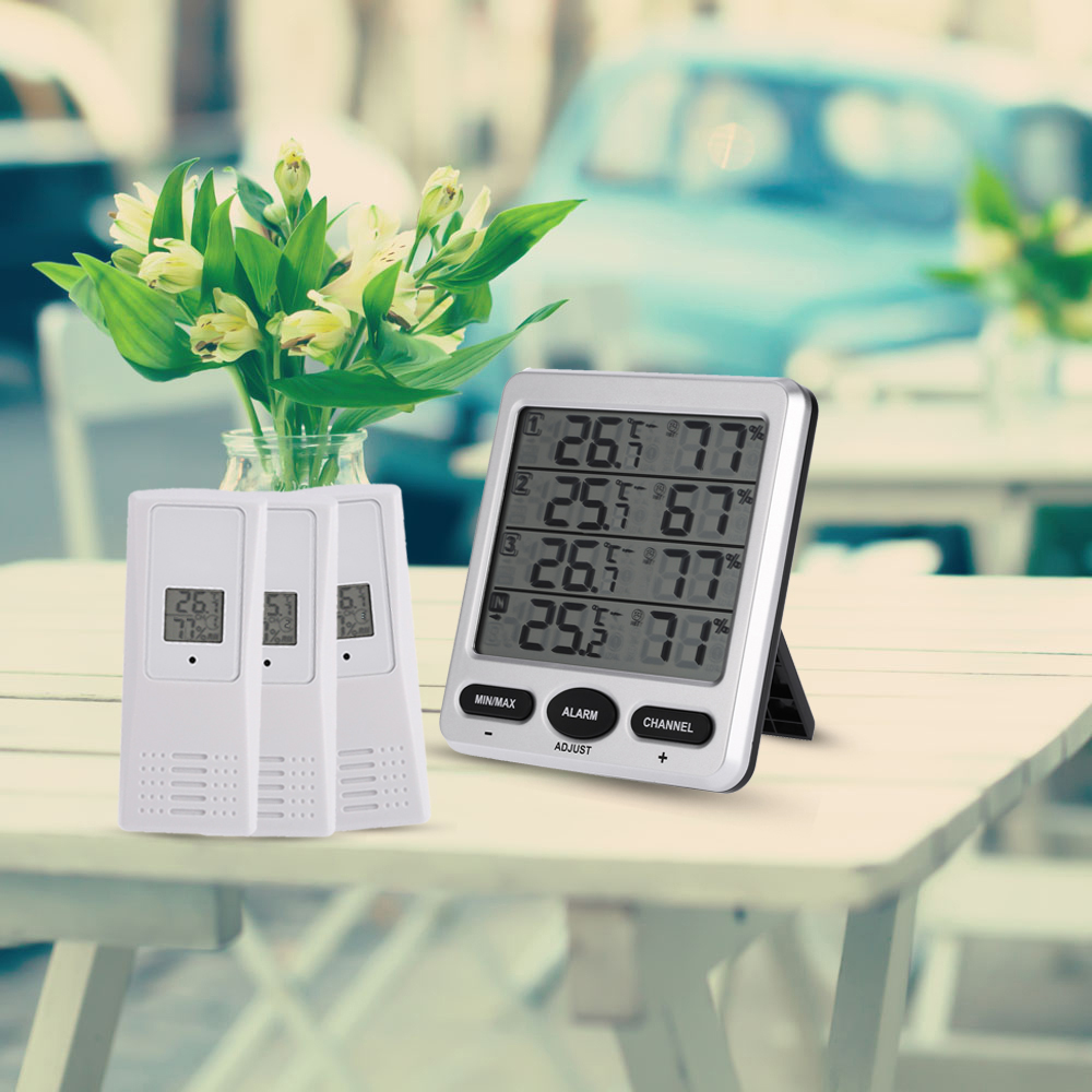 Digital Wireless Thermo-hygrometer with Three Remote Sensors Thermometer Hygrometer Comfort Level Alarm Function LCD 1 to 1 wireless digital thermo hygrometer console receiver remote sensor emitter thermometer humidometer drying rooms