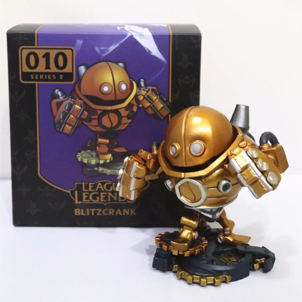 Anime Blitzcrank Figures The Great Steam Golem 010# Blitzcrank 10CM PVC LOL Action Figure brinquedos Collectible Model Toys high quality anime lol pvc action figures lee sin the blind monk yasuo master yi figures model toys for boy s birthday gift