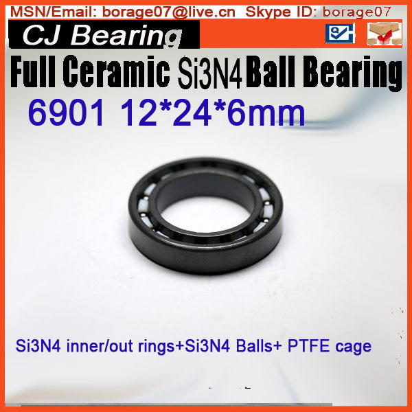 6901 si3n4 CB 61901 SI3N4 Full ceramic bearing ball bearing  12*24*6 mm 20mm bearings 6004 full ceramic si3n4 20mmx42mmx12mm full si3n4 ceramic ball bearing