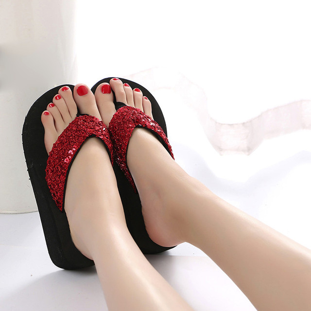 Summer Women Flip Flops Casual Sequins Anti-Slip slippers Beach Flip Flat Sandals Beach Open Toe Shoes For Ladies Shoes 3 1