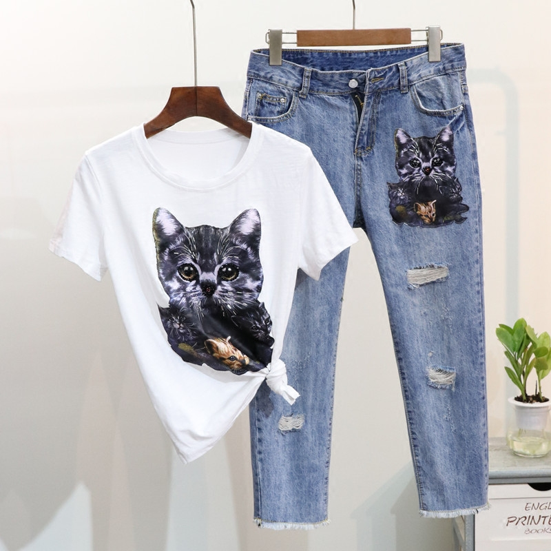 European 2018 Spring Summer Womans Bead Printing Cartoon Cat Short Sleeve T Shirt + Hole Seven Jeans Suit 2 Piece Sets for Mon