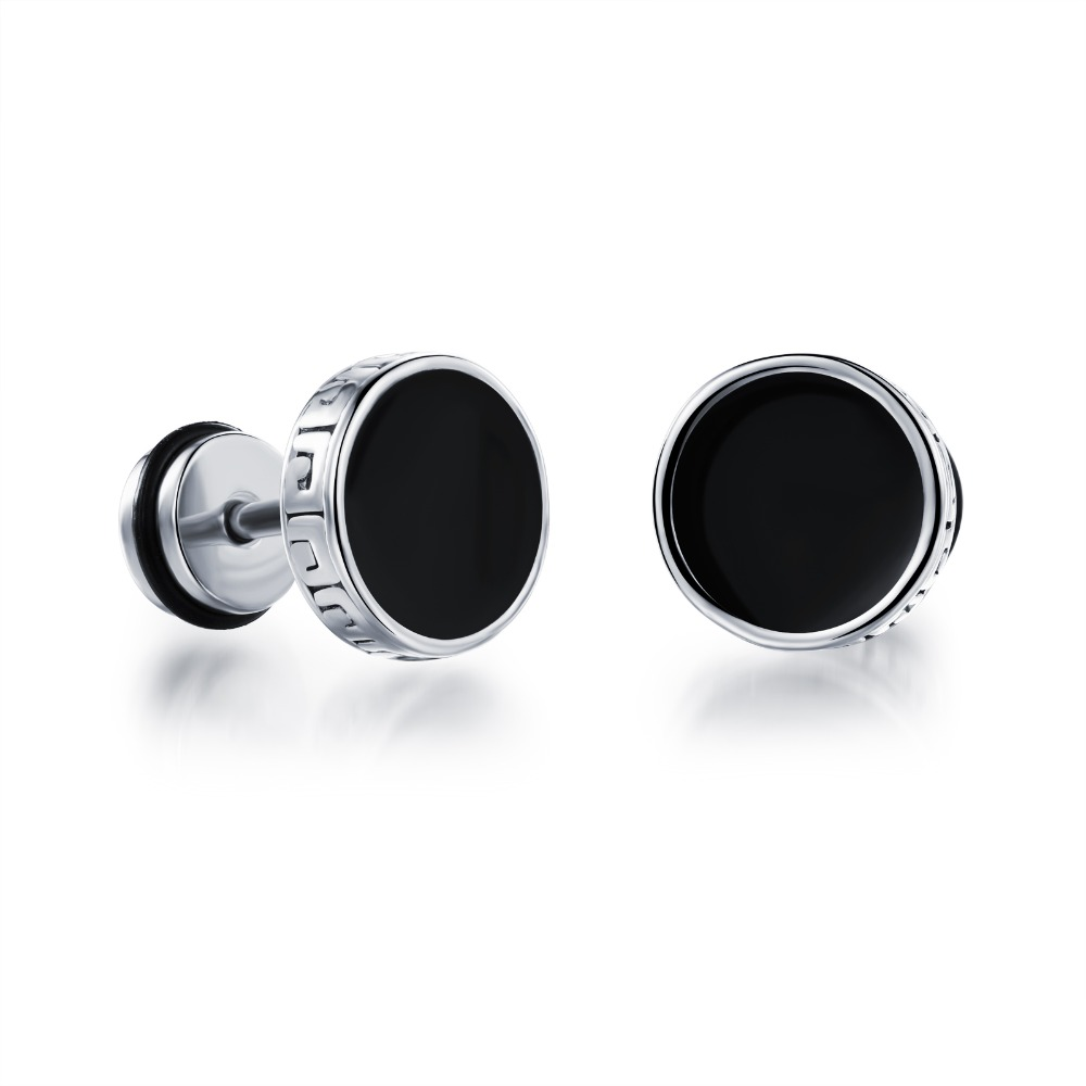Men earrings screw back black earring for men stud earrings w/ Great Wall stainless steel earring jewelry wholesale GE302