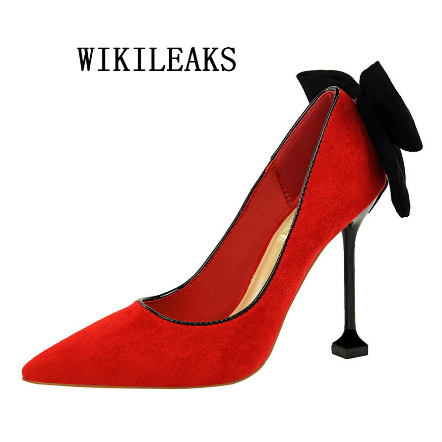 2018 ladies shoes butterfly-knot flock extreme high heels woman wedding shoes red sexy pumps sapato feminino zapatos mujer tacon plus size women pumps sexy high heels shoes woman sequin party club wedding valentine shoes zapatos mujer tacon sapato feminino