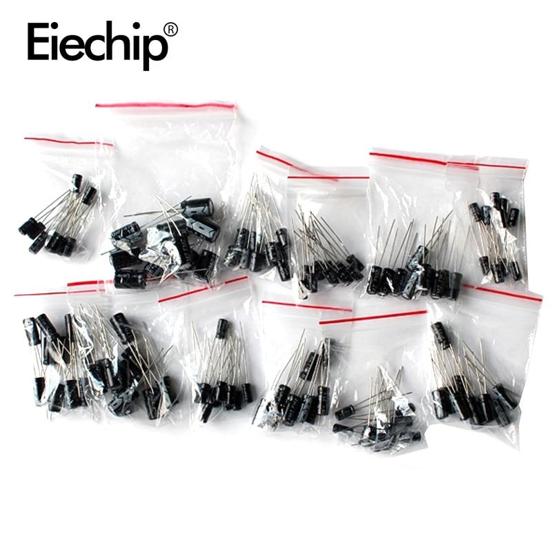 Capacitor-Assortment-Set Pack Electrolytic 12-Value-Kit 220UF 100UF 1UF 47UF 120pcs 1uf-470uf