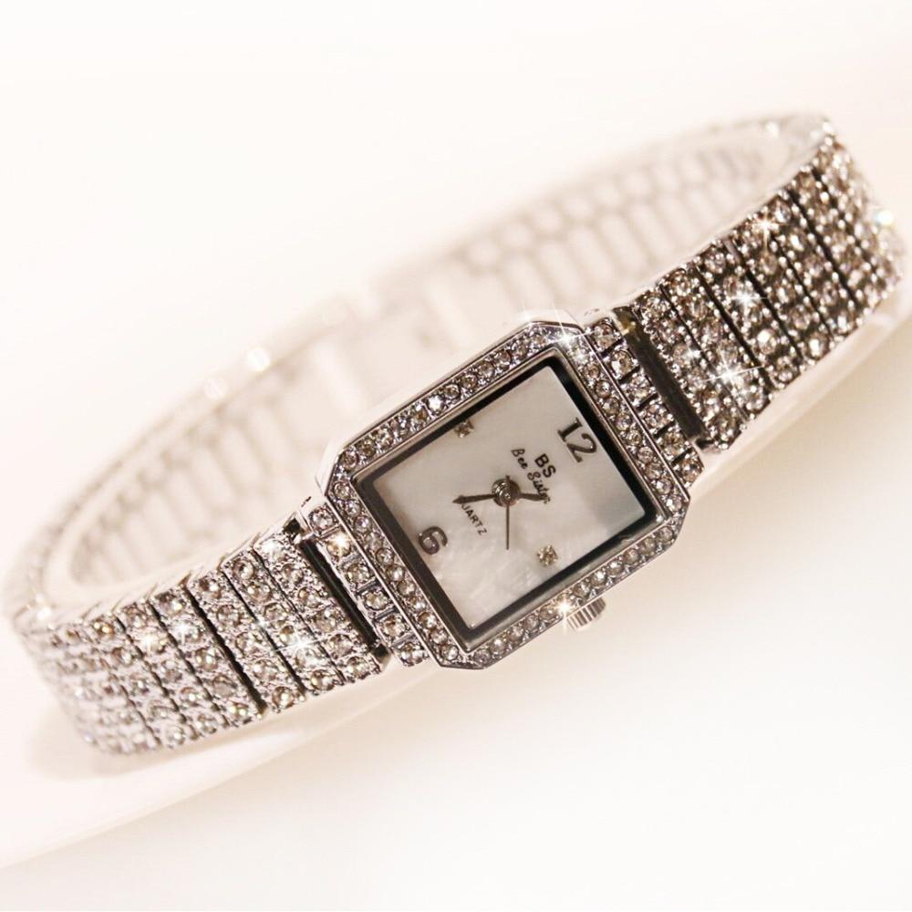 New Fashion Famous Brand Women Full Diamond SilverBracelet Watch Lady Luxury Dress Jewelry Watch Rhinestone Bling Crystal Bangle
