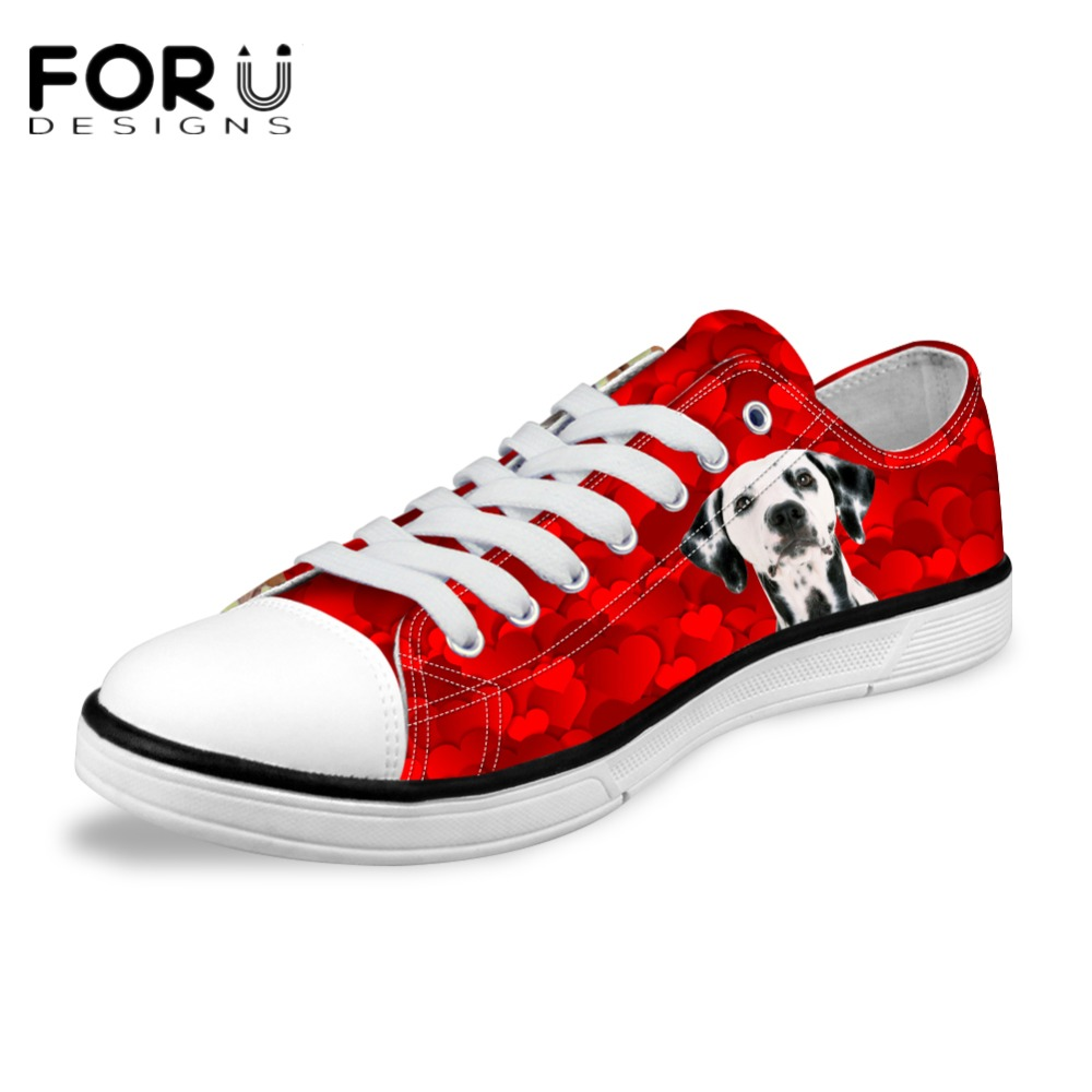 FORUDESIGNS Fashion Women's Casual Canvas Shoes Cute Dalmatian Dog Women Low Top Vulcanized Shoes for Ladies Flats Female Shoes e lov fashion luminous constellation canvas shoes low top sagittarius horoscope graffiti casual walking shoes for women