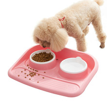 Random Color Plastic Double Dog Bowl Dish Food Water Feeder Pet Skid Proof Bottom Cat Feeders Pets Dogs