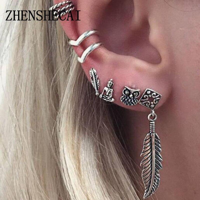 New Fashion Women Girl Punk Rock Leaf Chain Tassel Dangle Ancient Silver Cuff Earrings Cross Charms Metallic Wrap Ear Cuff Earri