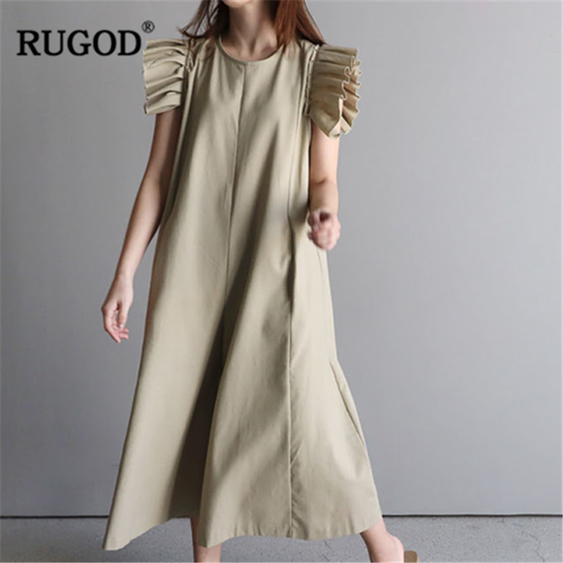 RUGOD 2019 New Arrival Women Solid Literary   Jumpsuit   O-neck Sleeveless Pleated Cuff Loose A-line Rompers Temperament Mujer Suit