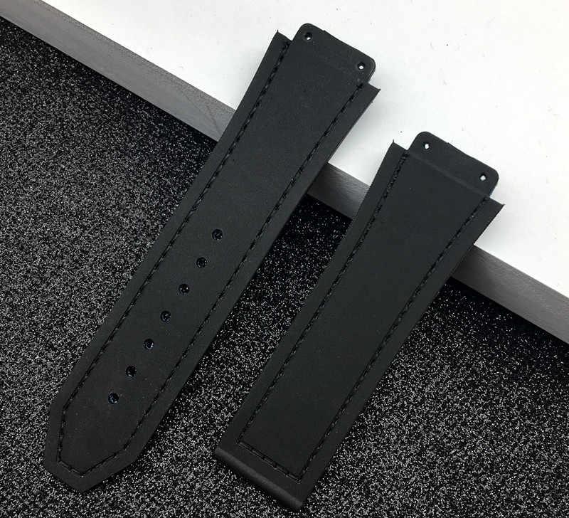 שחור כחול 25*19mm פרה עור גומי רצועת השעון עבור Hublot רצועת עבור גדול מפץ חגורת להקת שעון פרפר אבזם רכזת לוגו על כלים