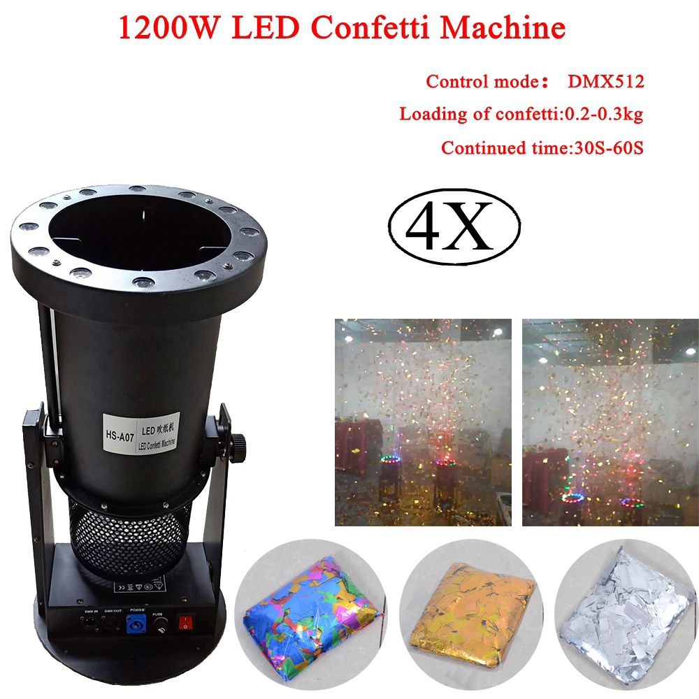 4Pcs Lot 1200W DMX Controller LED Confetti Machine LED RGB Confetti Machine for Dj Clubs Stage