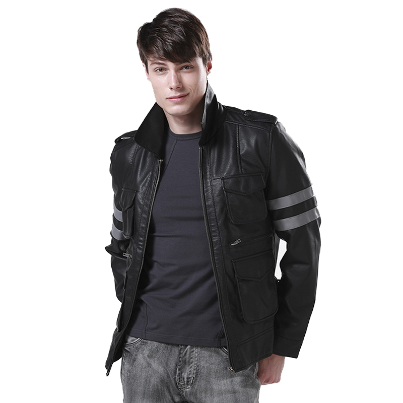 [STOCK]High Quality!Game Resident Evil 6 Leon PU Leather Jacket Winter Coat Halloween Cosplay Costumes for Women/Men M 3XL