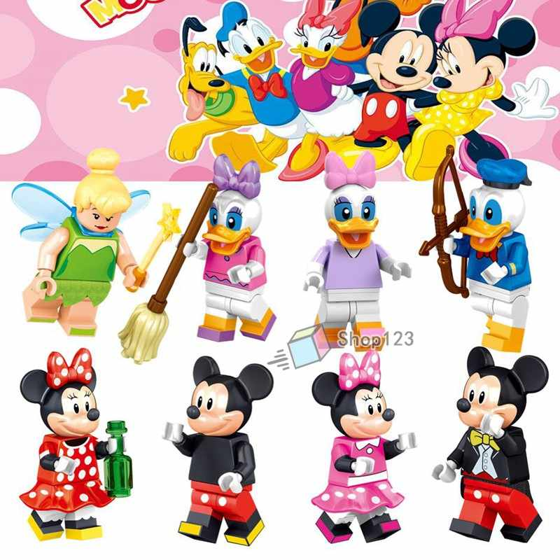 Anime Legoings Mickey Mouse Minnie Donald Pato Dos Desenhos Animados do Conto de Fadas Tinker Bell Princesa Toy Story Building Blocks Brinquedos Figuras