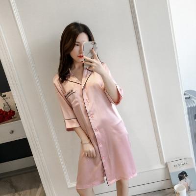 Women's Sexy Lingeries Embroidery Long Nightgown Plus Size Pink Dress Sleep Shirt Sleepwear Nightwear Silk Nightdress Homewear 1