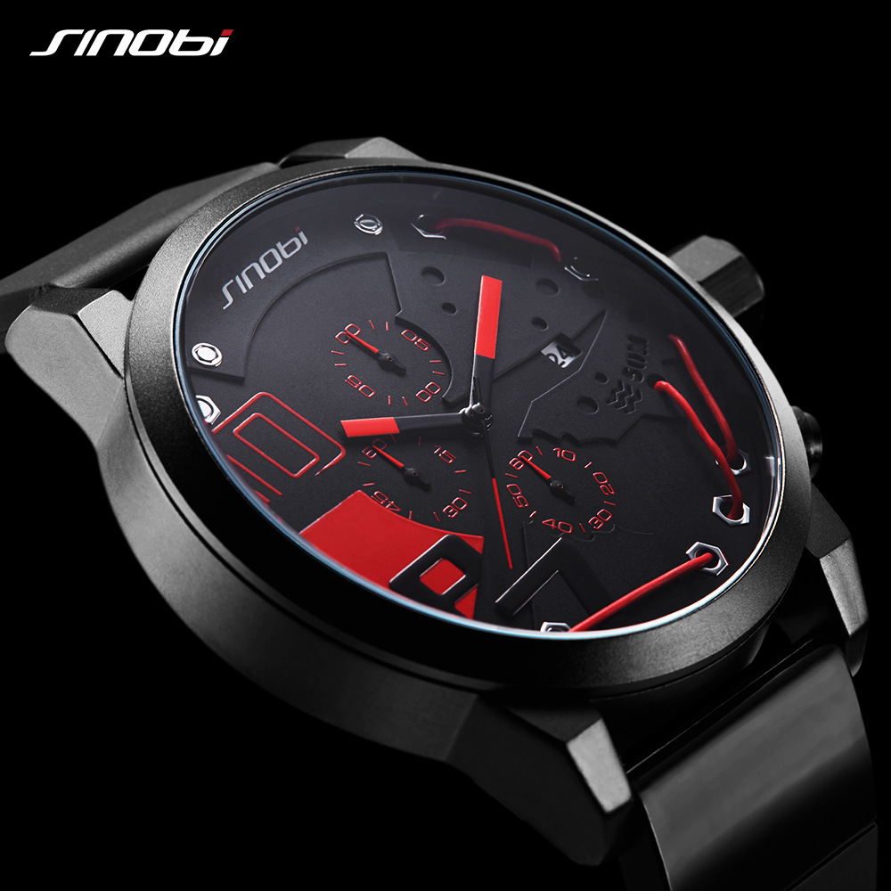 SINOBI Men Sports Chronograph Silicone Watch Waterproof Top Brand Luxury Mens Watches 2018 relogio masculino militar reloj xfcsSINOBI Men Sports Chronograph Silicone Watch Waterproof Top Brand Luxury Mens Watches 2018 relogio masculino militar reloj xfcs