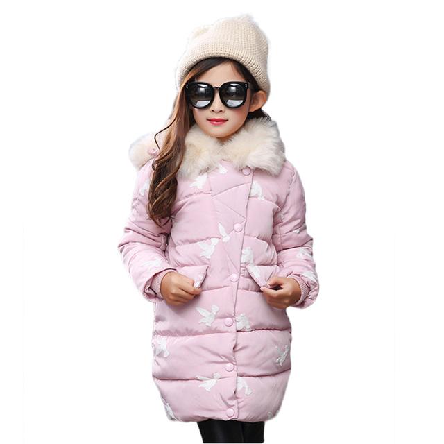 2016 Meninas do Estilo do Inverno Crianças Quente Casacos Com Capuz Casacos Casacos Roupas Snowsuit Roupas de Natal Do Bebê Crianças Para Baixo Parkas