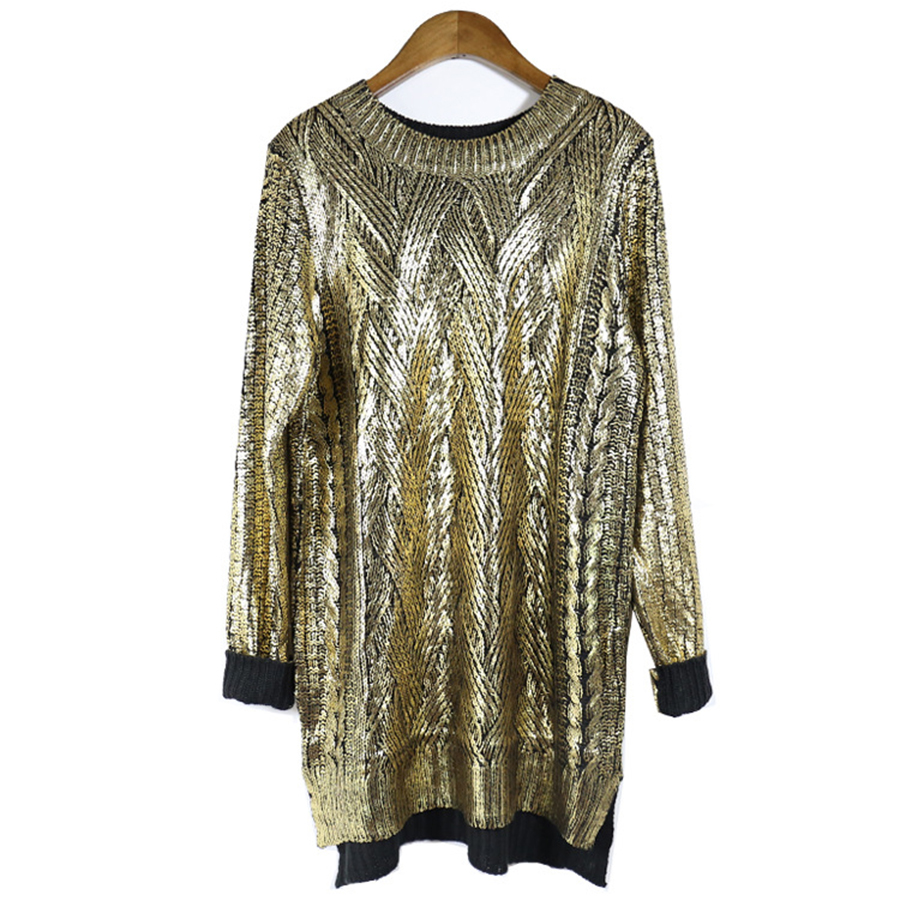 DICLOUD Bronzing Silver Knitted Sweater  1