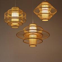 Chinese Bamboo Art Chandelier Modern Hand Knitting LED Pendant Lamps Living Room Restaurant Corridor Decor Hanging Lamp Lighting