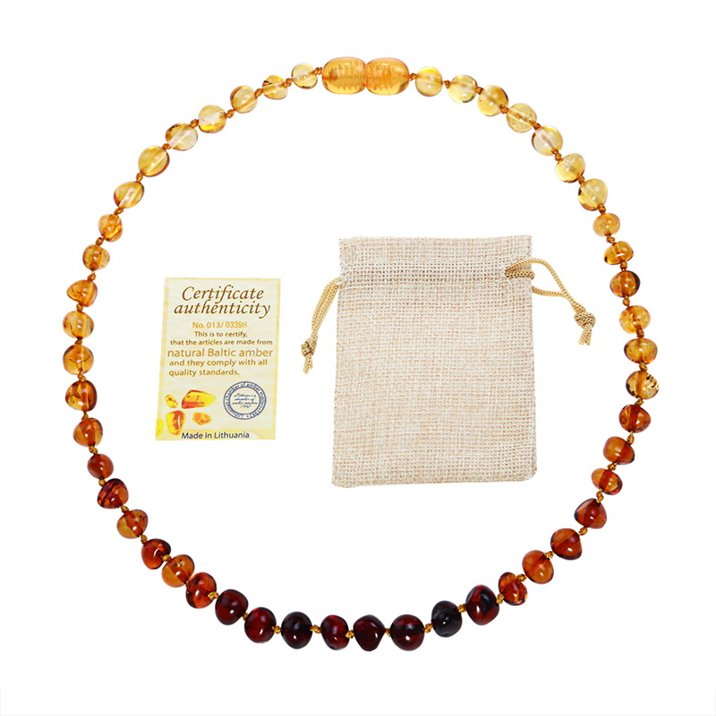 DR Classic Natural Amber Necklace Supply Certificate Authenticity Genuine Baltic Amber Stone Baby Necklace Gift 10